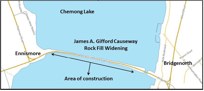 Mapped location of rock fill area for Gifford Causeway