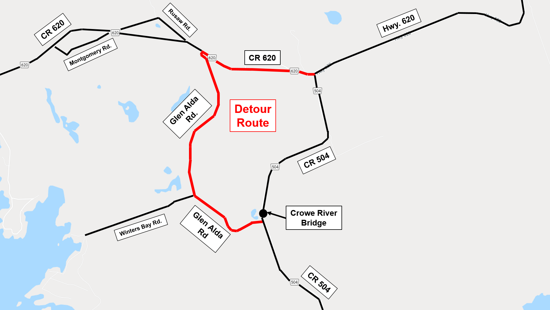 County Road 504 at Crowe River Bridge Detour Route