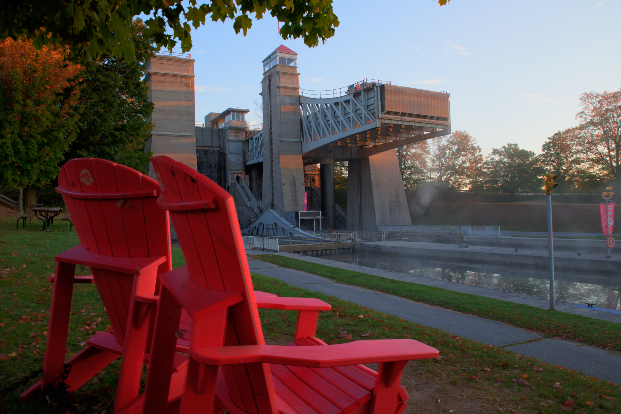 Adirondack chairs by the Lift Locks photo courtesy of Kevin Derrick