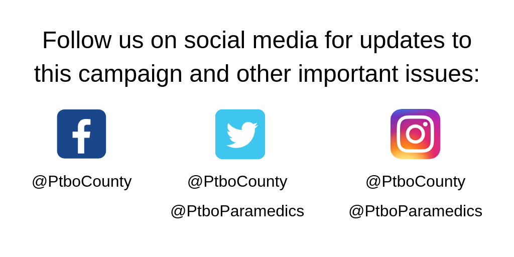 Social Media Channel Listing for Peterborough County and Peterborough Paramedics
